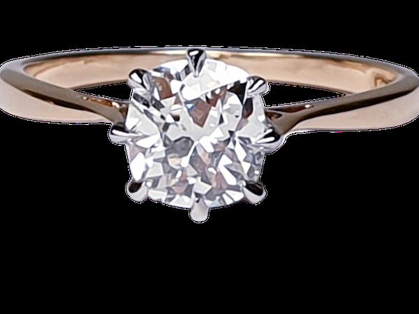 Solitaire cushion cut diamond ring - image 1
