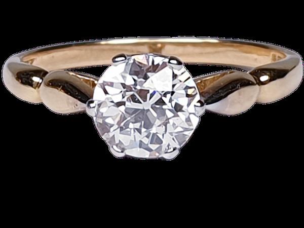 1.35ct old European transitional cut diamond engagement ring  DBGEMS - image 1