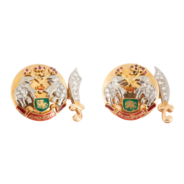 Indian Style Vintage Cufflinks in 18 Carat Gold, Diamonds, Rubies & Enamelling, English* circa 1950. - image 1