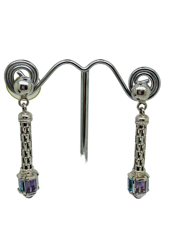 18K white gold Amethyst and Topaz Earrings - image 1