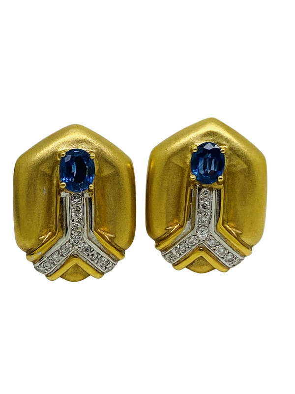 18K yellow gold Diamond and Blue Sapphire Earrings - image 1