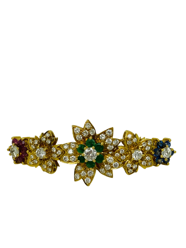 18K yellow gold Diamond, Emerald, Ruby, Sapphire Hair Clip - image 1