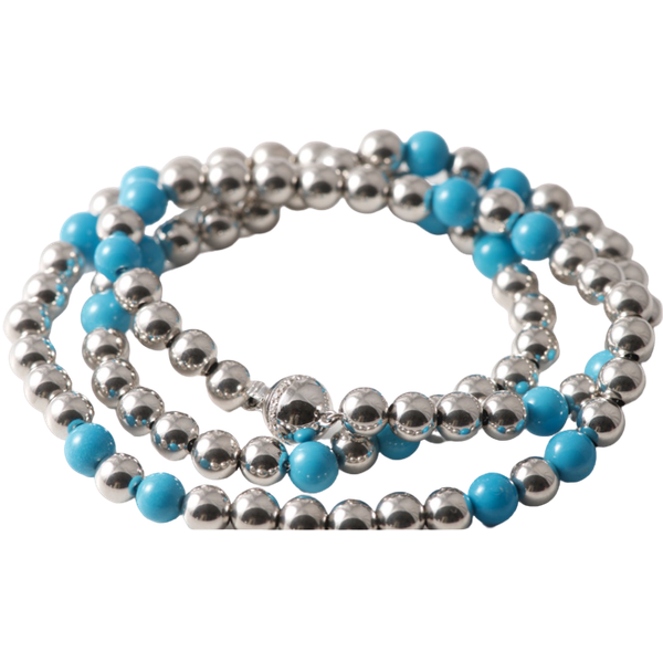 Date 2010's, 18k White Gold Turquoise & Diamond stone set Necklace by Lilly Shapiro ( Dawn Light ), SHAPIRO & Co - image 1