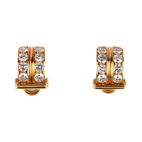 Vintage Creole Shaped Earrings in 18 Karat Gold and Diamonds, French circa 1950. - image 1