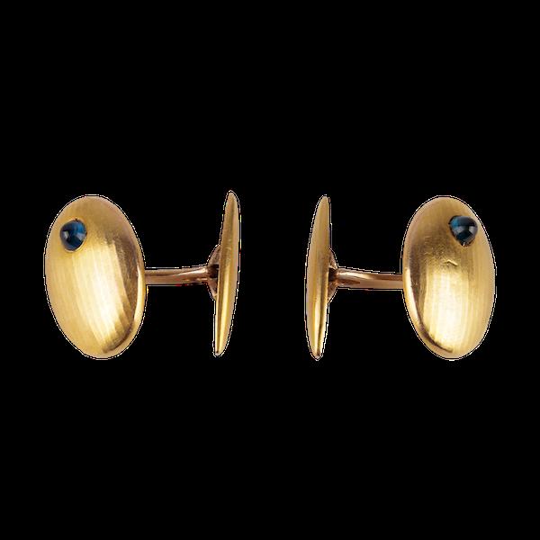 Antique Cufflinks in 14 Karat Gold with Cabochon Sapphire, *Austrian circa 1900. - image 1