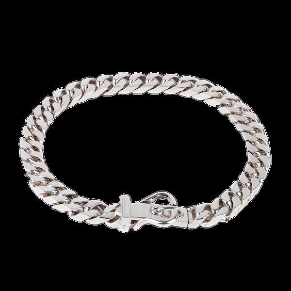 Vintage Hermès Silver Buckle Necklace of Flat Curb Link Design, French 2007. - image 1