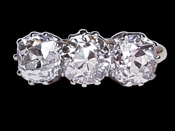 Antique diamond trilogy engagement ring  DBGEMS - image 1