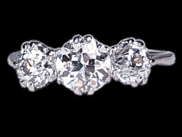Art deco diamond three stone ring - image 1