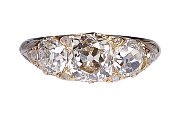 Antique three stone diamond carved half hoop ring  DBGEMS - image 1