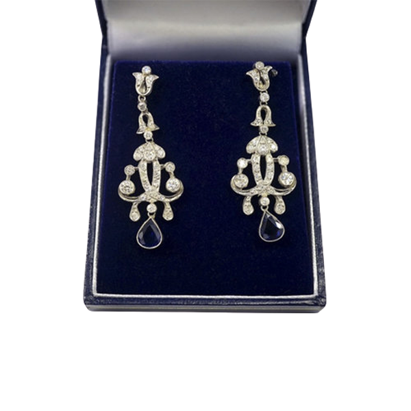 Art Deco Diamond Sapphire Earrings - image 1