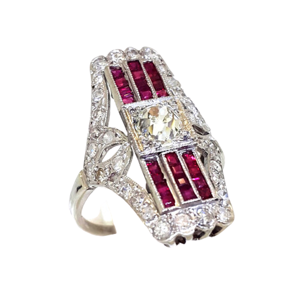 Art Deco Platinum Diamond Ruby Ring - image 1