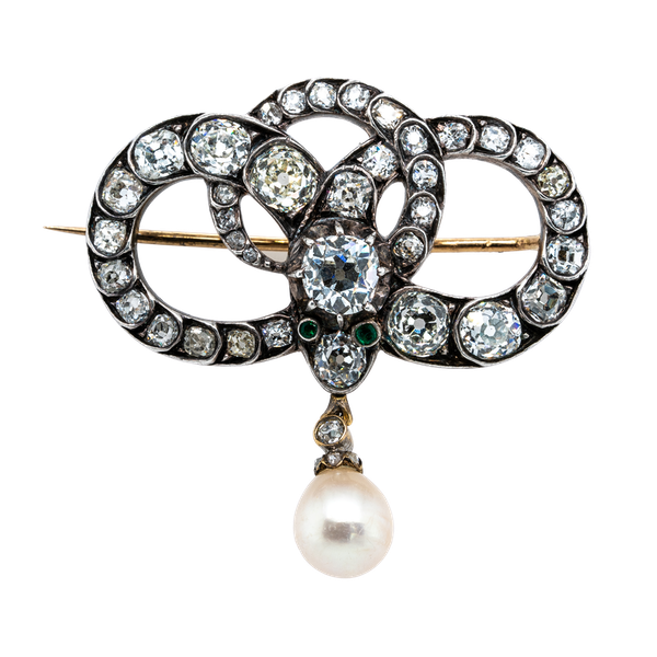Victorian diamond natural pearl snake brooch - image 1