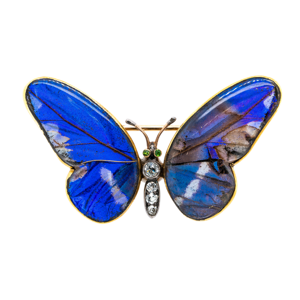 Victorian butterfly wing diamond brooch - image 1