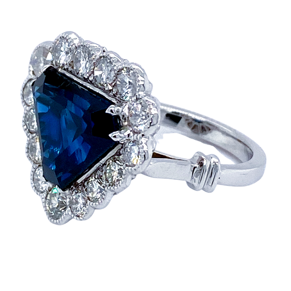 18K white gold 6.46ct Natural Blue Sapphire and 1.57ct Diamond Ring - image 8