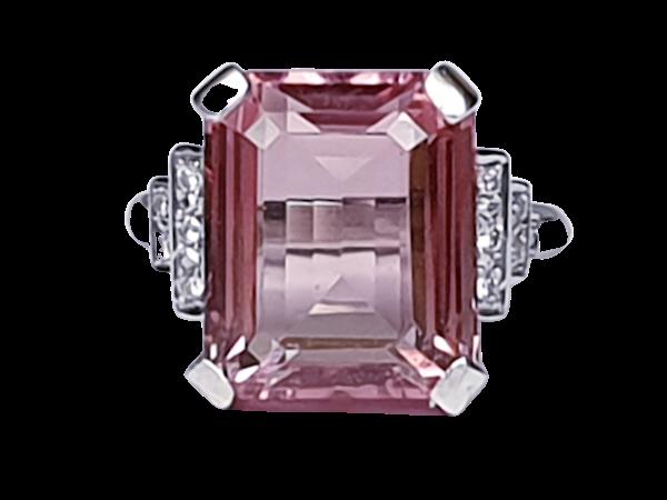 Pink tourmaline and diamond dress ring  DBGEMS - image 1