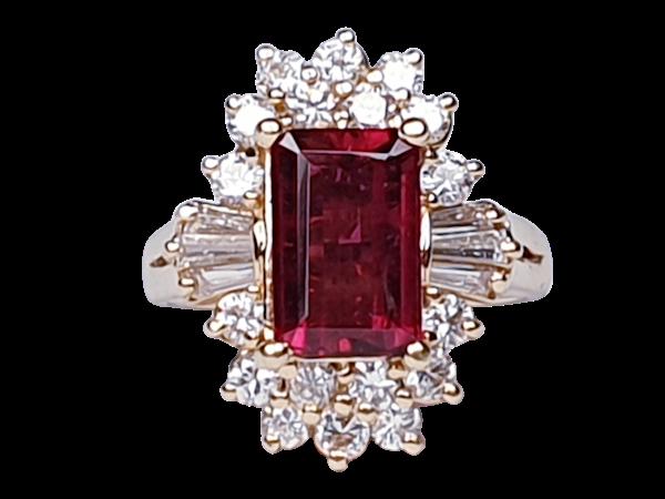 Rubalite and Diamond Cluster Ring  DBGEMS - image 1