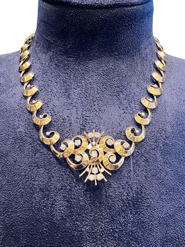 Vintage,14K yellow gold Diamond Necklace - image 1