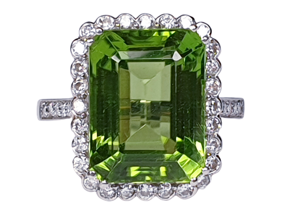 Peridot and Diamond Cluster Ring  DBGEMS - image 1