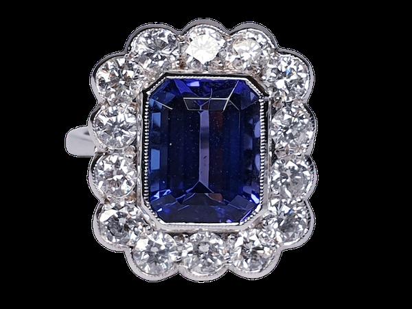 Tanzanite and diamond cluster dress ring  DBGEMS - image 1