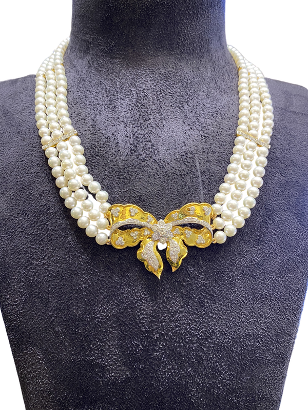 18K yellow gold Diamond and Cultured Pearl Necklace - image 1