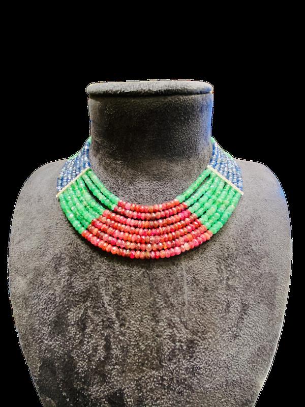 18K white gold Diamond and Multi-coloured gems Necklace - image 1