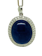 18K white gold 41.00ct Natural Cabochon Blue Sapphire and 2.05ct Diamond Pendant - image 2