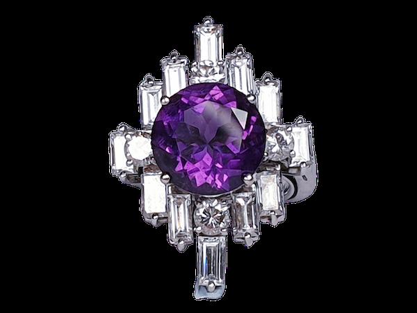 Amethyst and baguette diamond dress ring  DBGEMS - image 1