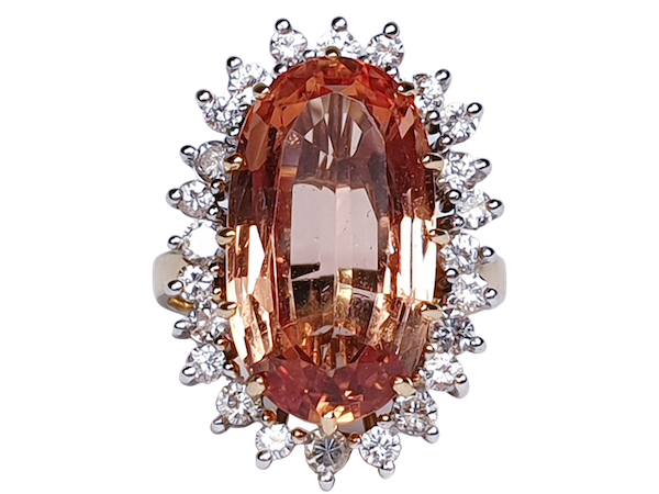 Imperial golden topaz and diamond cluster ring  DBGEMS - image 1
