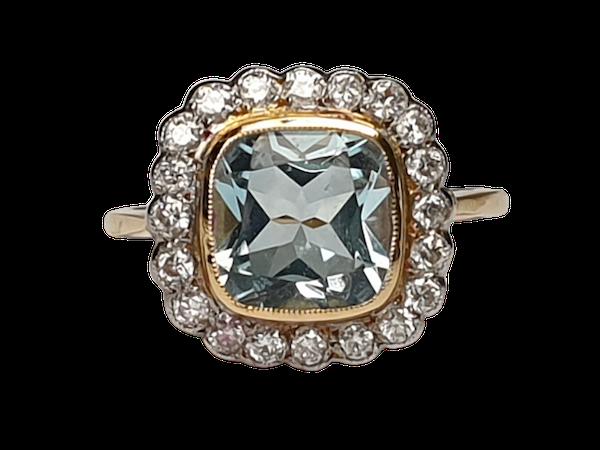 Aquamarine and Diamond Ring  DBGEMS - image 1