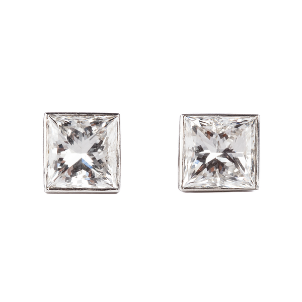 A pair of radiant cut diamond earrings of 1.33 carat each and mounted in platinum with certificate New Product - image 1