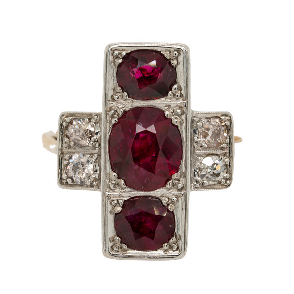 3 Rubies and diamonds tablet shape  ring - image 1