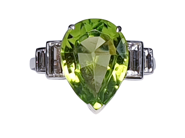 Peridot and Baguette Diamond Ring  DBGEMS - image 1