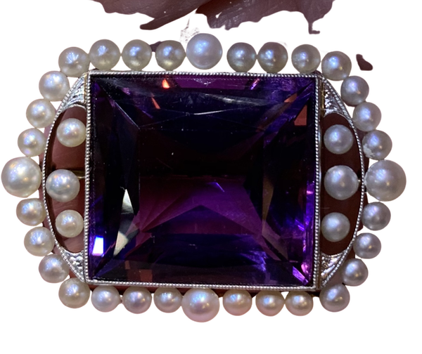 Beautiful natural pearl and fine amethyst brooch - image 1