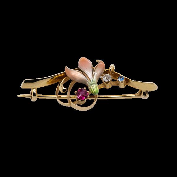 Art Nouveau enamel and  multi gem flower shape brooch - image 1