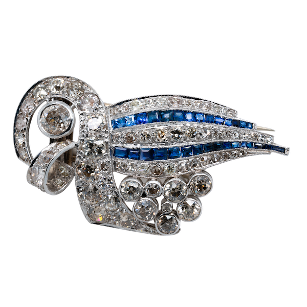 Sapphire and diamond Art Deco clip - image 1