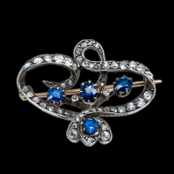 Sapphire and diamond Art Nouveau brooch - image 1