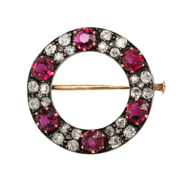Ruby and diamond antique circular brooch - image 1