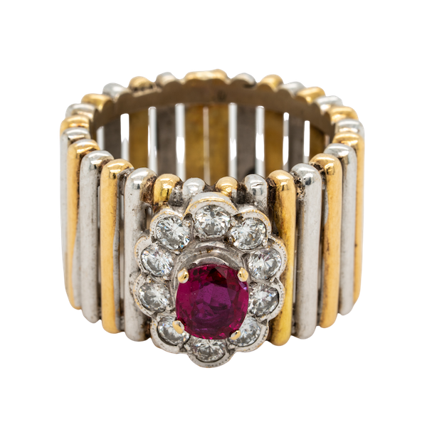 2 colour gold ruby and diamond cluster ring - image 1