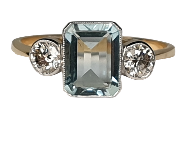 Aquamarine and diamond ring  DBGEMS - image 1