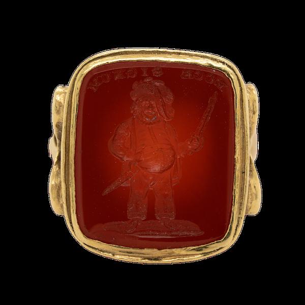 Cornelian intaglio gold signet ring - image 1