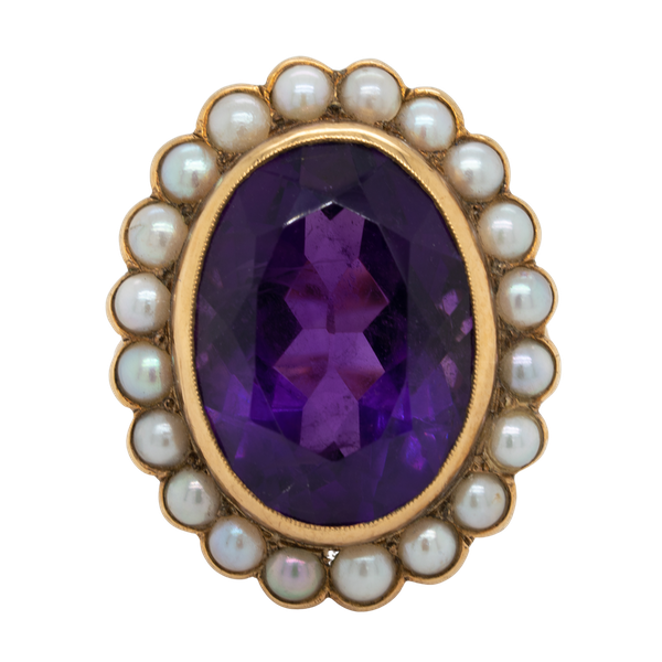 Amethyst and pearl cluster ring - image 1