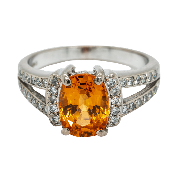 Fire opal and diamond cluster ring - image 1
