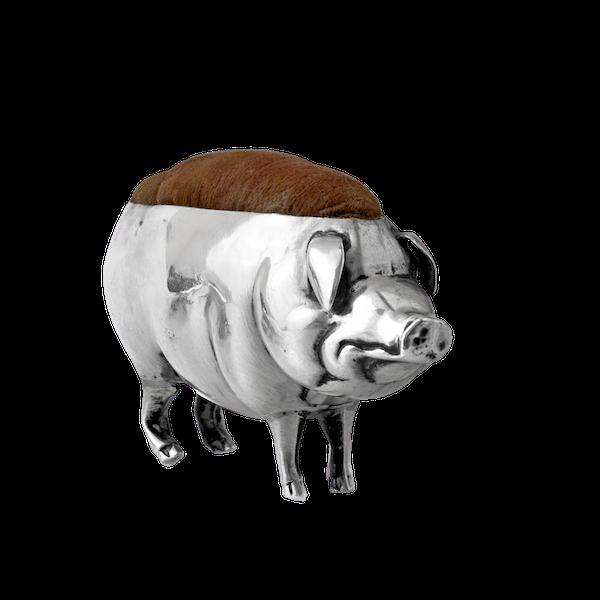 Silver pin cushion pig - image 1