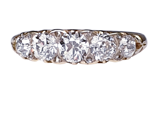 Antique 5 stone carved half hoop diamond ring  DBGEMS - image 1