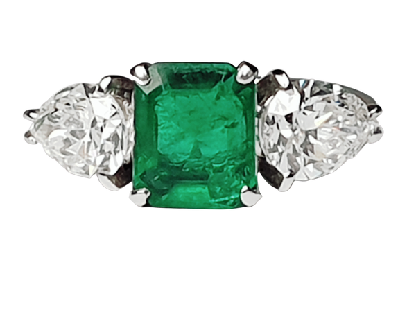 Emerald and pear shaped diamond engagement ring  DBGEMS - image 1