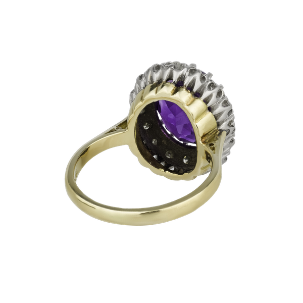 Amethyst and diamond ring - image 1