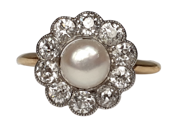 Edwardian Natural Pearl and Diamond Cluster Ring  DBGEMS - image 1