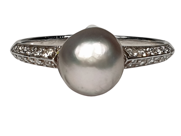 Art Deco Natural Pearl and Diamond Ring  DBGEMS - image 1