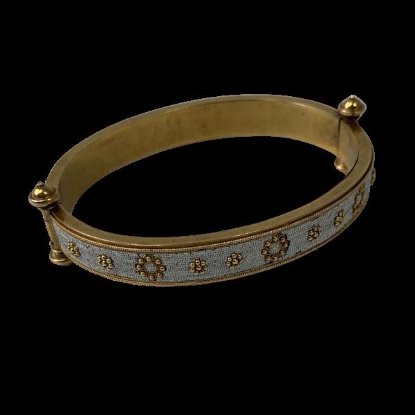 Gold and micro mosaic bangle - image 1