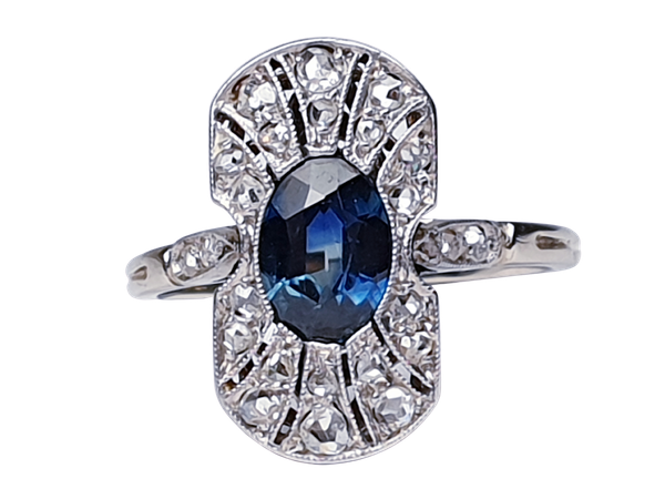 Antique French Art Deco Sapphire and diamond Panel Ring  DBGEMS - image 1